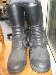 Mens Black Leather Motorcycle Boots,  Size 10/43